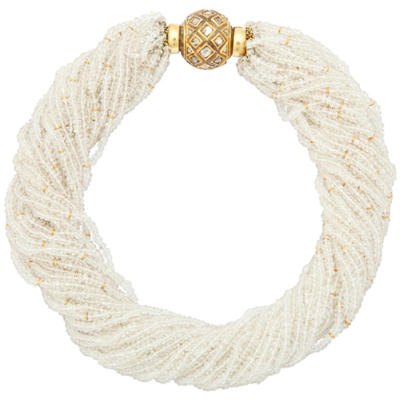 Diamond Inlaid Crystal Ball and Crystal Bead Necklace