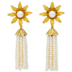 Enamel Pearl Flower Tassel Gold Earrings