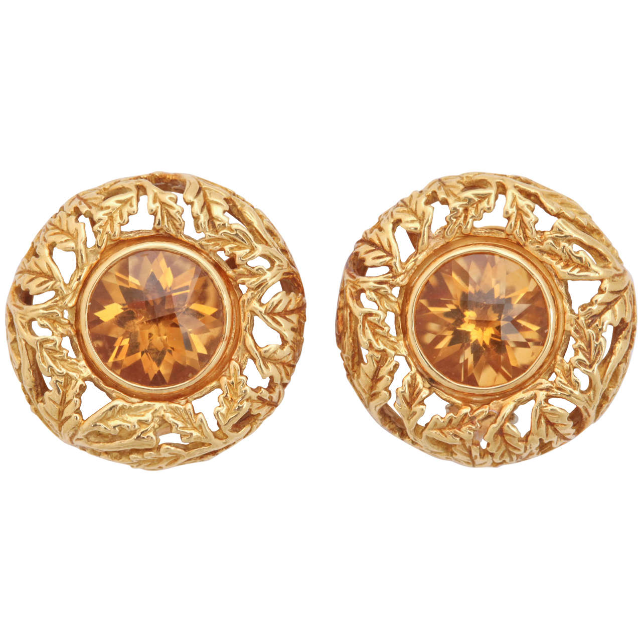 Citrine Gold Round Carved Leaf Earrings