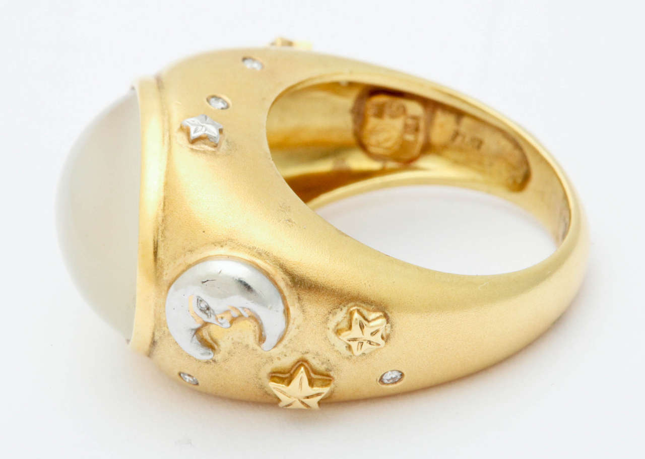 celestial moonstone gold platinum ring for sale at
