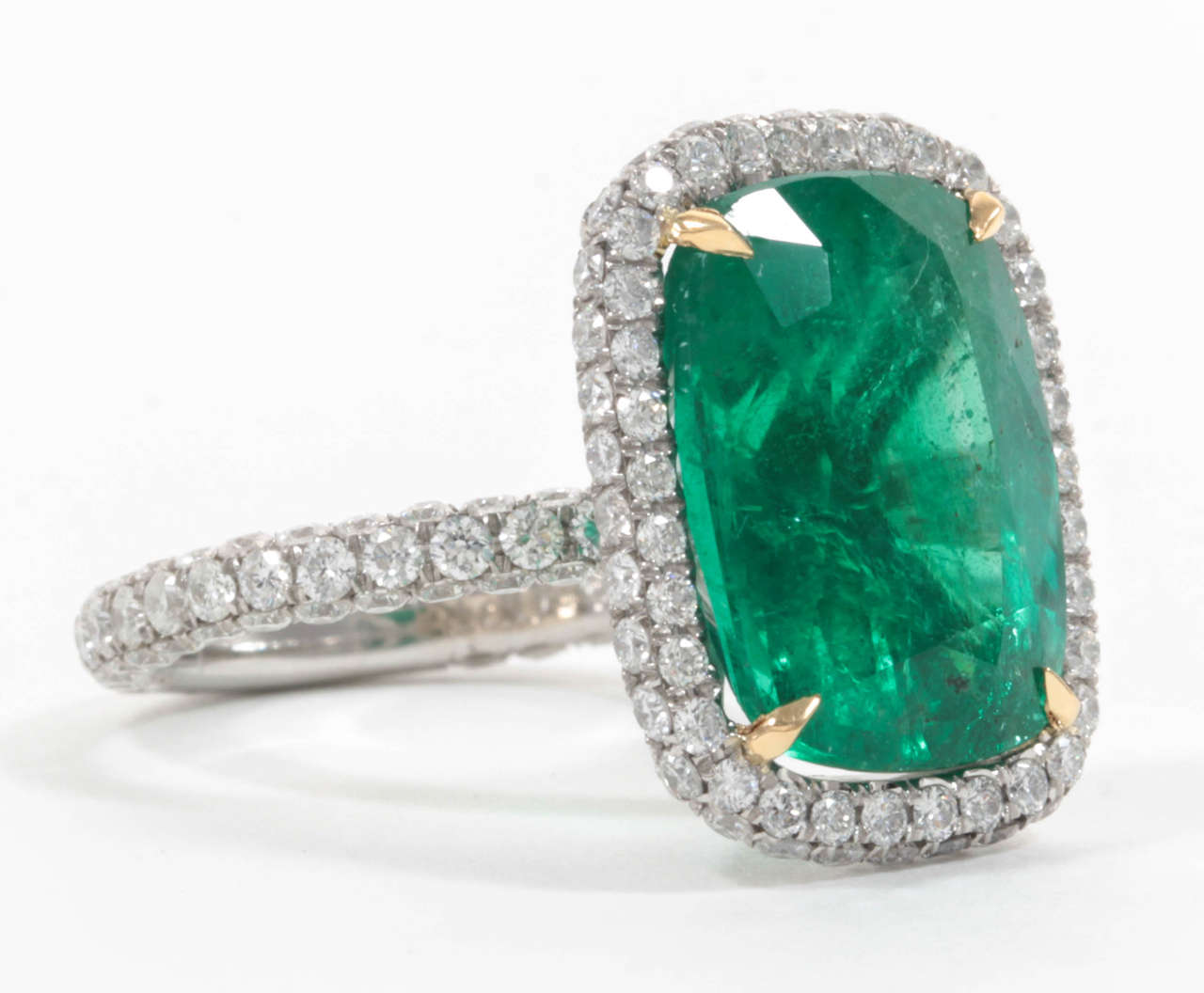 cluster rub gold ring diamond and brilliant product yellow cut over fancy emerald set