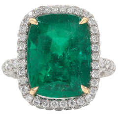 Fabulous Cushion Cut Emerald Diamond Ring Set in Platinum