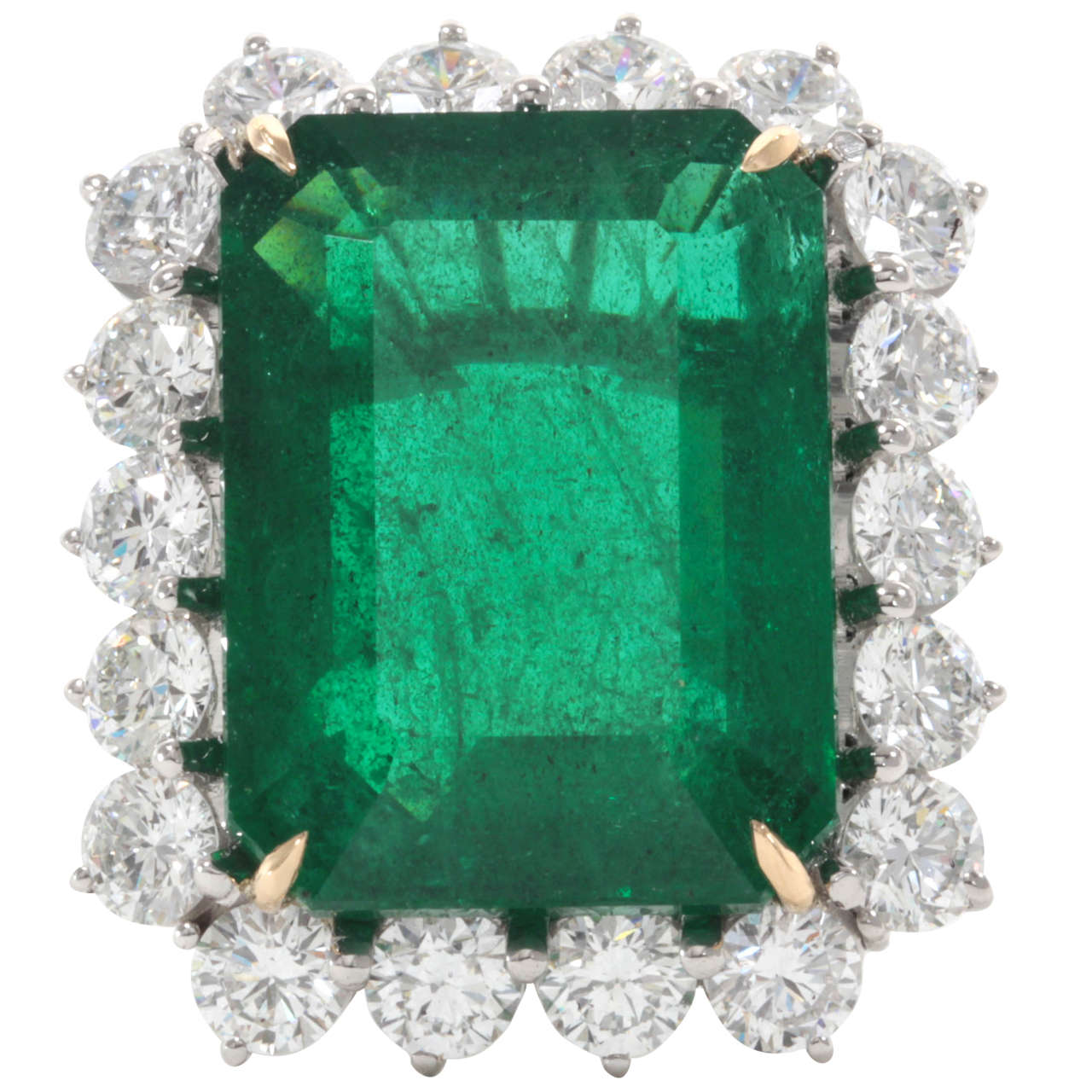emerald gold cut in altana engagement profile marie ring yellow low products foundry bezel diamond set