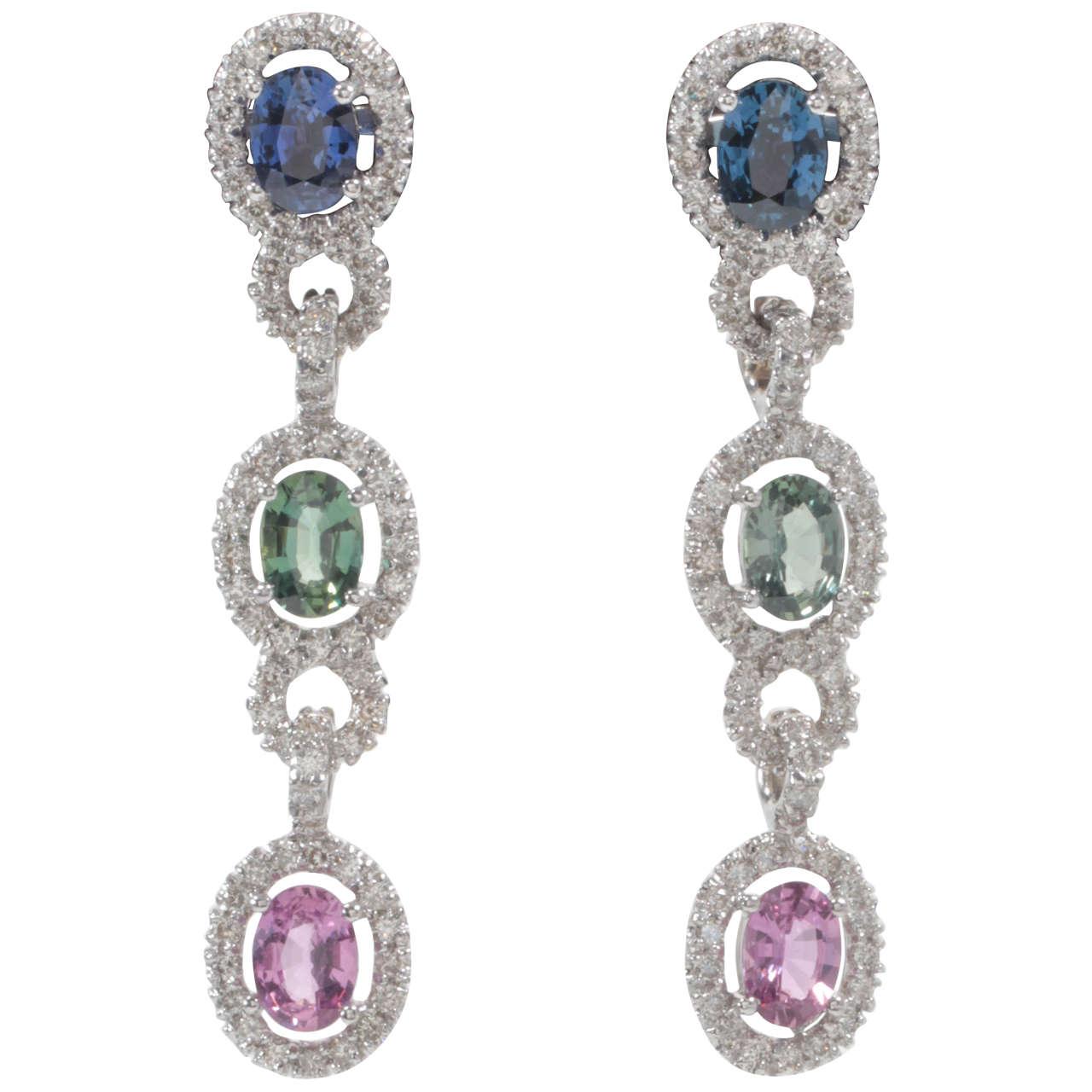 Unique Multicolor Sapphire Diamond Drop Earrings