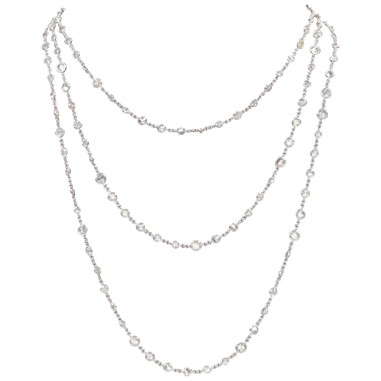 44 Carat Round Diamond Chain 72 Inches Multiple Sizes