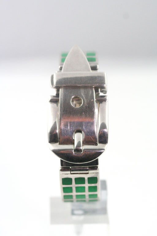 Gucci Enameled Sterling Silver Bracelet In New Condition For Sale In Los Angeles, CA