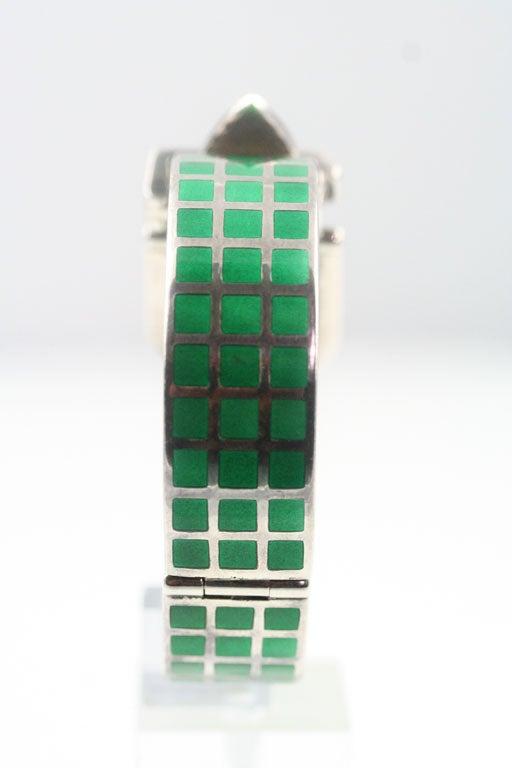 Gucci Enameled Sterling Silver Bracelet For Sale 1