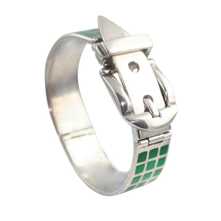 Gucci Enameled Sterling Silver Bracelet For Sale