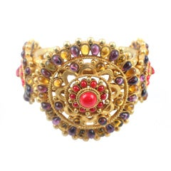 Chanel Gilt Metal and Poured Glass Cuff