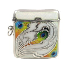 Art Nouveau Sterling and Enamel Match Safe
