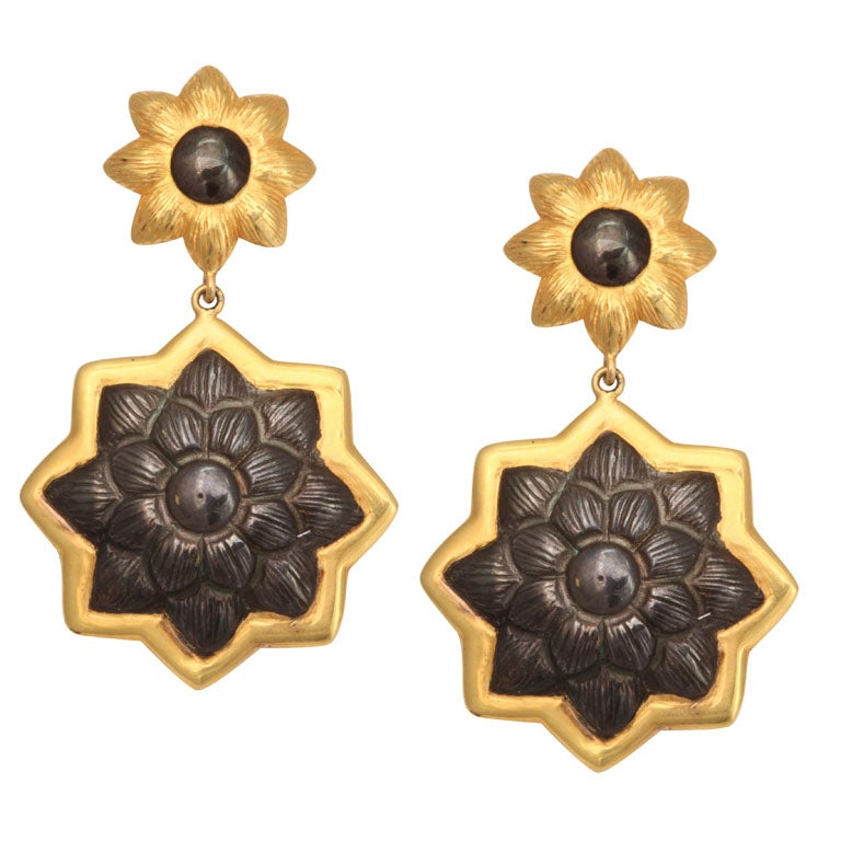 Sunflower Pendant Earrings 1