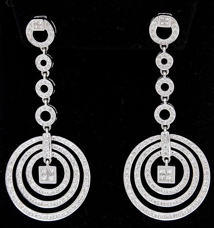 Diamond Dangling Circle White Gold Drop Earrings 2
