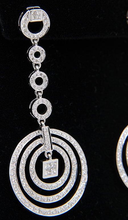 Diamond Dangling Circle White Gold Drop Earrings 4