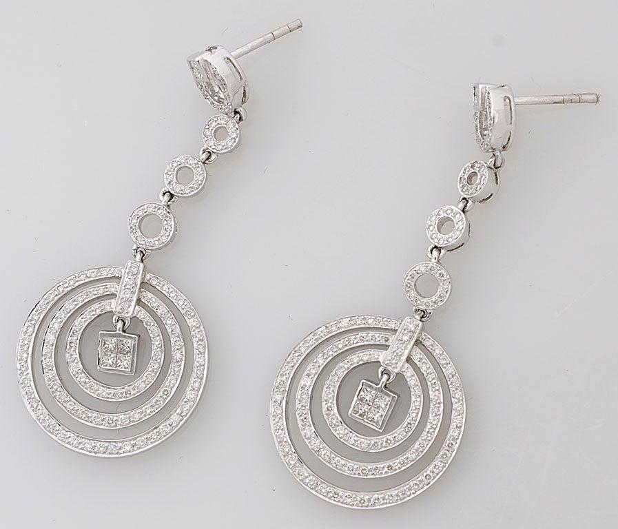 Diamond Dangling Circle White Gold Drop Earrings 5