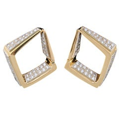 Geometric Gold Diamond Shaped Earrings with Pave Diamonds