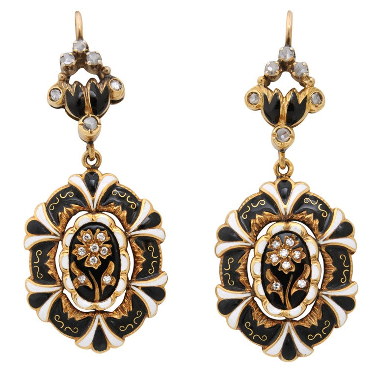 1950s Victorian Revival Enamel Diamond Gold Dangle Earrings