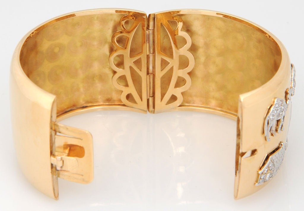 Retro Art Deco Diamond Platinum Charms Gold Bangle For Sale 1