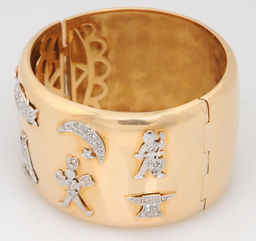 Retro Art Deco Diamond Platinum Charms Gold Bangle For Sale 2