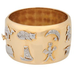 Impressive Retro Gold Bangle with art Deco Diamond Platinum Charms