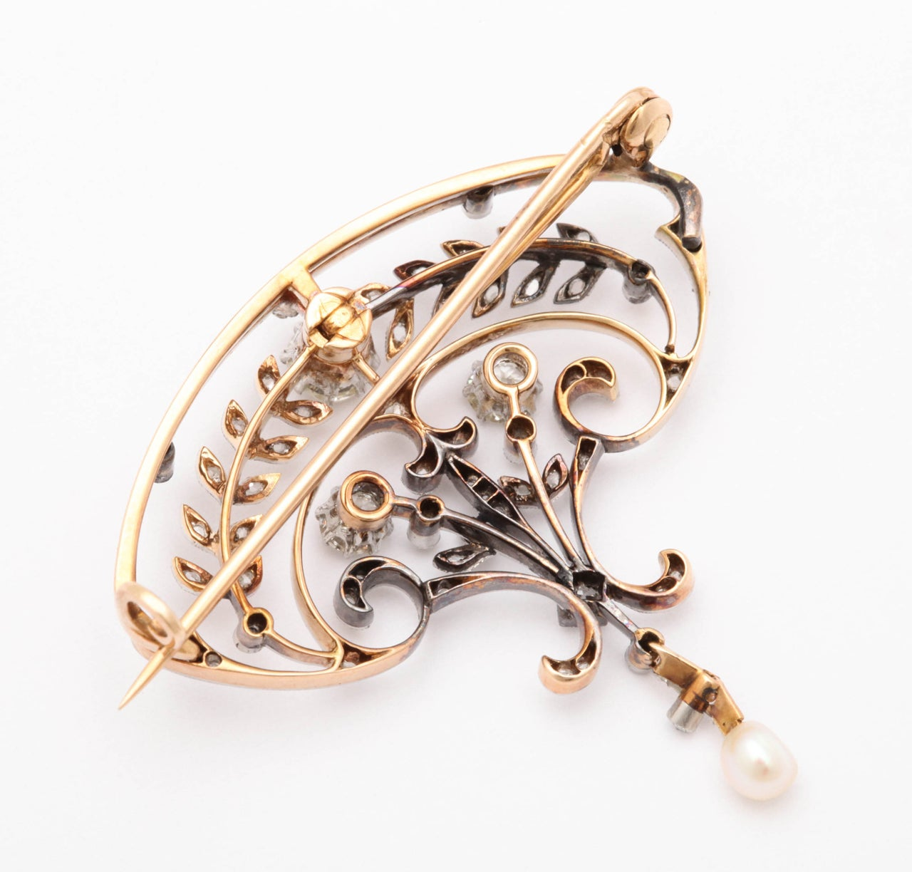 Victorian Pearl Diamond Gold Brooch For Sale