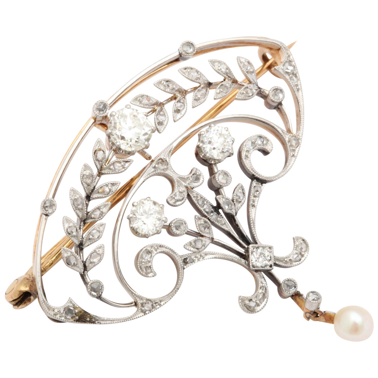 Pearl Diamond Gold Brooch For Sale