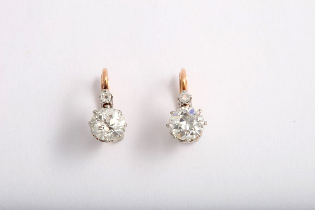 Art Deco Diamond 2 Stone Drop Earrings For 3