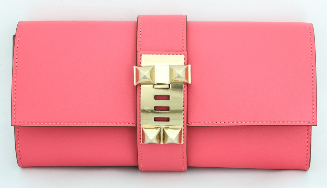 Hermes Very Rare Medor Clutch Bag Rose Lipstick Pink For Sale at ...