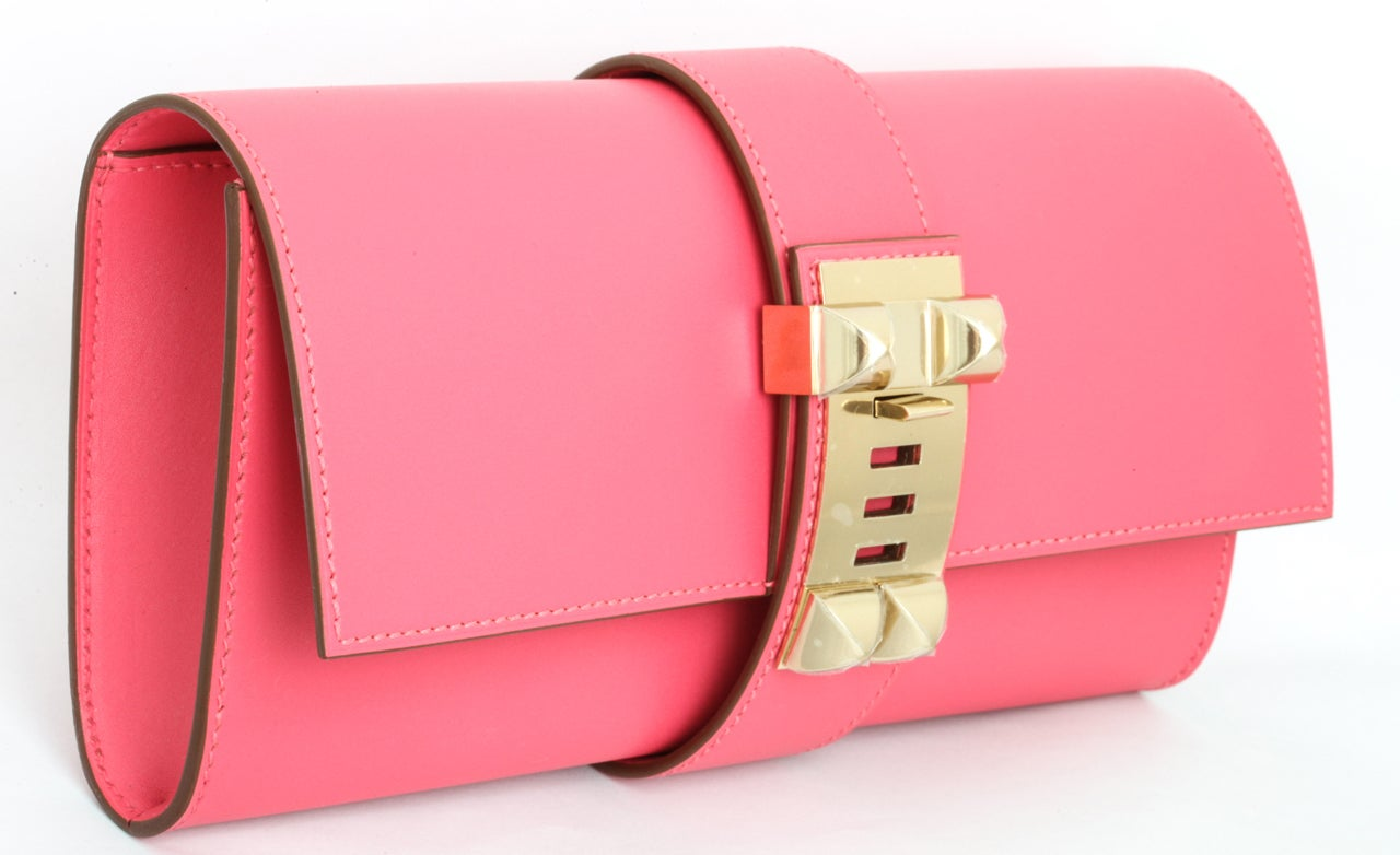 Hermes Very Rare Medor Clutch Bag Rose Lipstick Pink 4