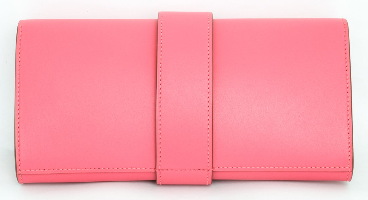 Hermes Very Rare Medor Clutch Bag Rose Lipstick Pink 6