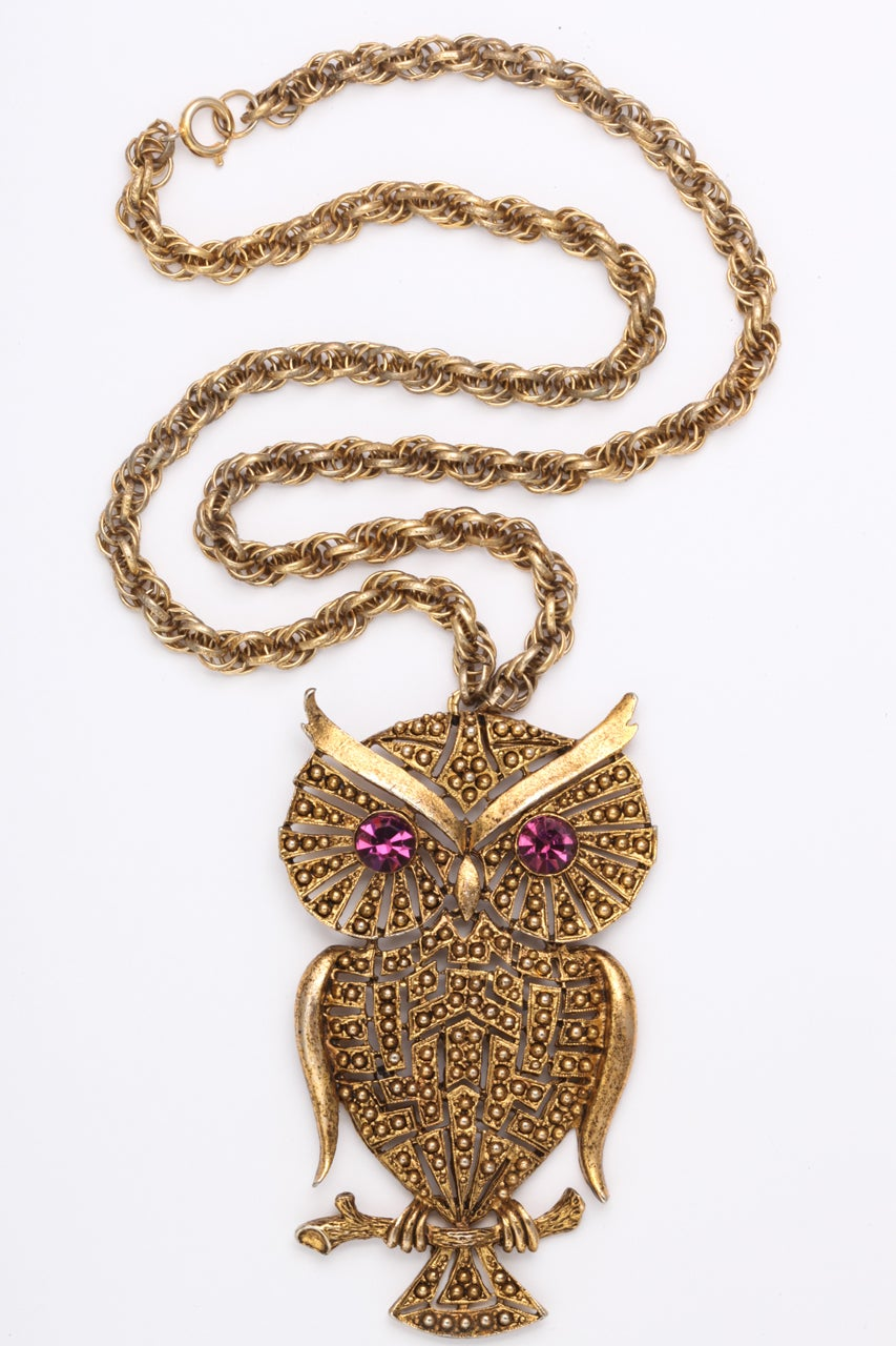 Large owl pendant with purple rhinestone eyes with substantial chain. Owl is 3.5