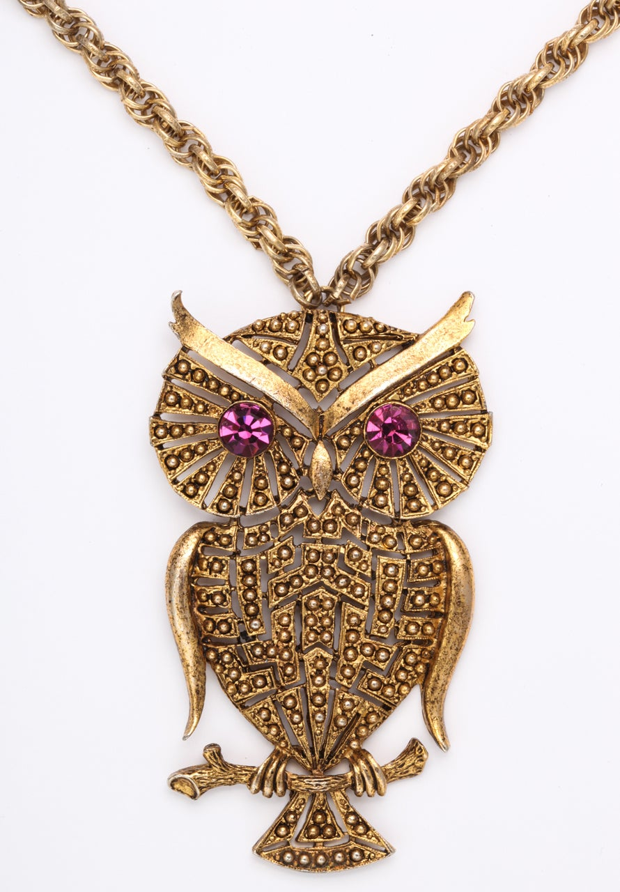 1960s Owl Pendant In Excellent Condition For Sale In Stamford, CT