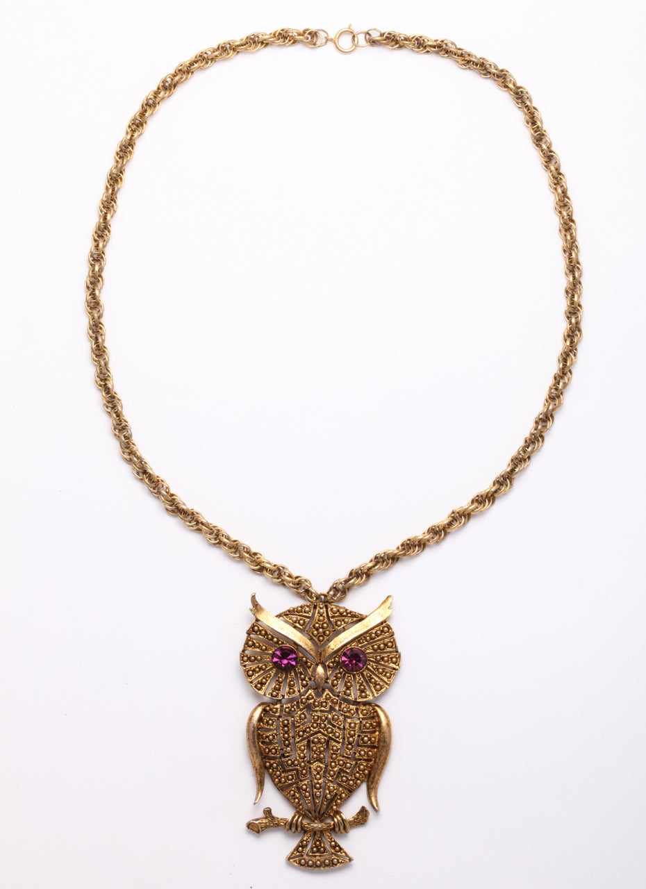 Women's 1960s Owl Pendant For Sale