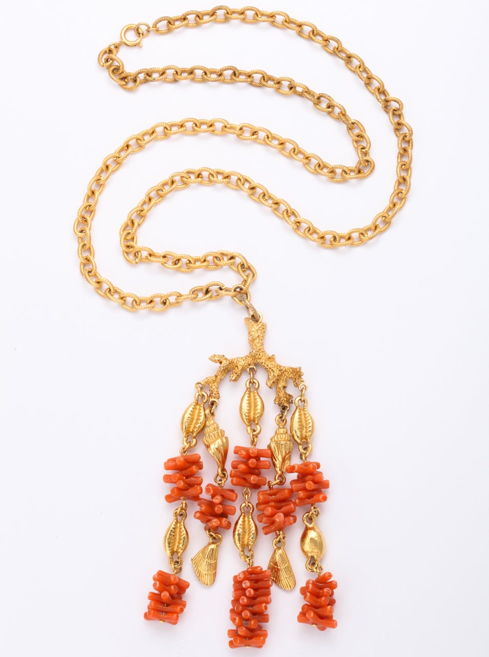 Coral and Shell Pendant Necklace 2