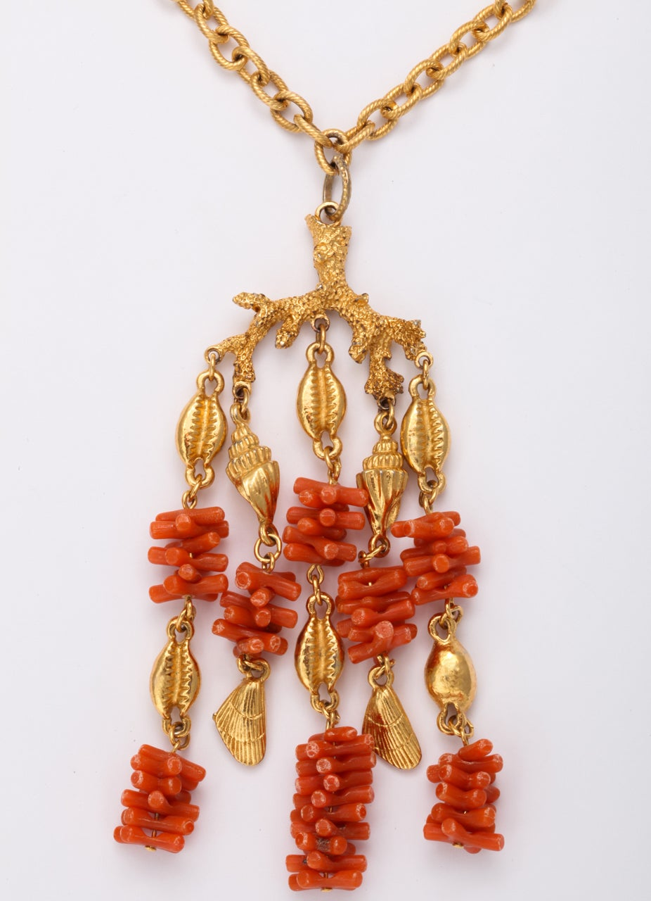 Coral and Shell Pendant Necklace 3
