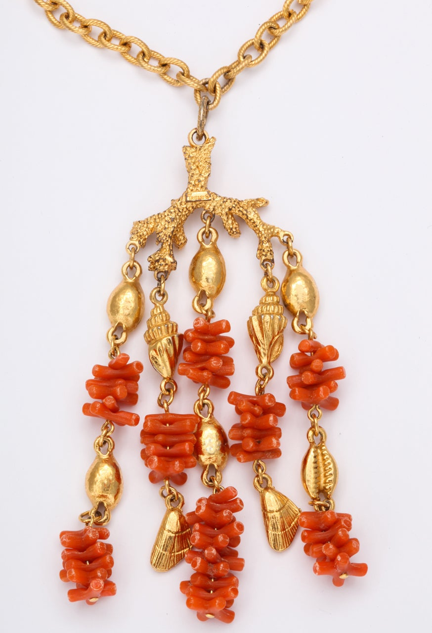 Coral and Shell Pendant Necklace 7