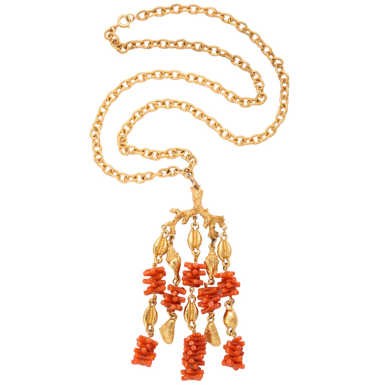 Coral and Shell Pendant Necklace 1