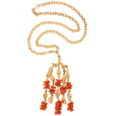 Coral and Shell Pendant Necklace