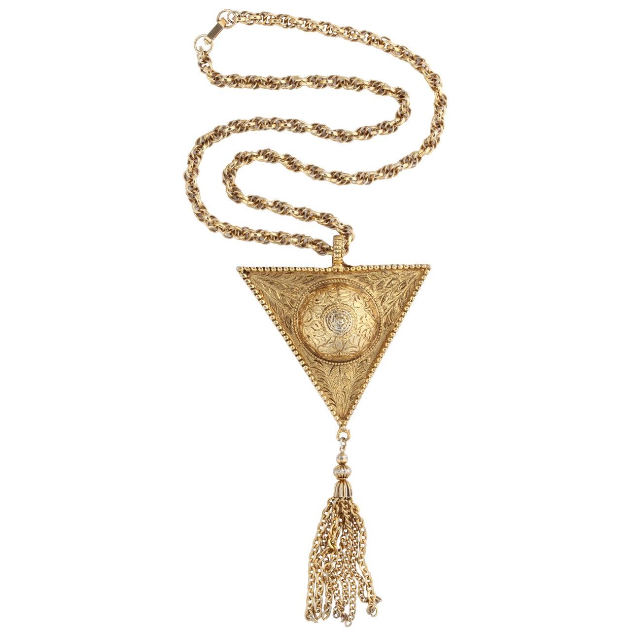 Triangular Medallion Pendant Necklace