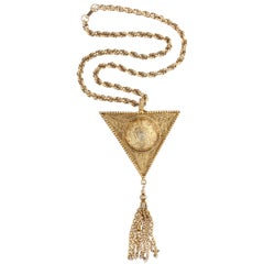"Triangular ""Gold"" Medallion Pendant Necklace, Costume Jewelry"