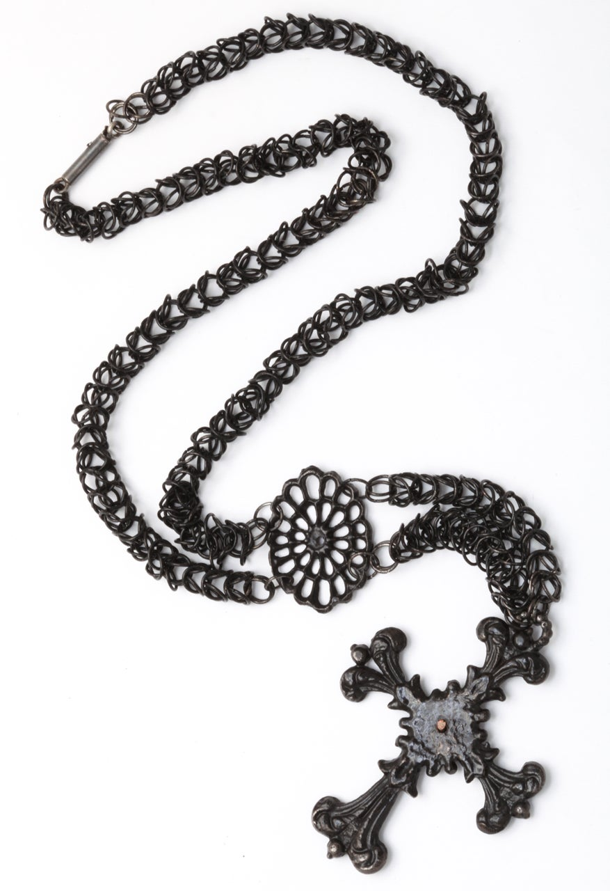 Antique Georgian Berlin Iron Chain and Cross c. 1820-30 For Sale 2