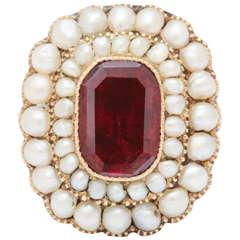 Georgian Ring of Natural Pearl and Foiled Garnet