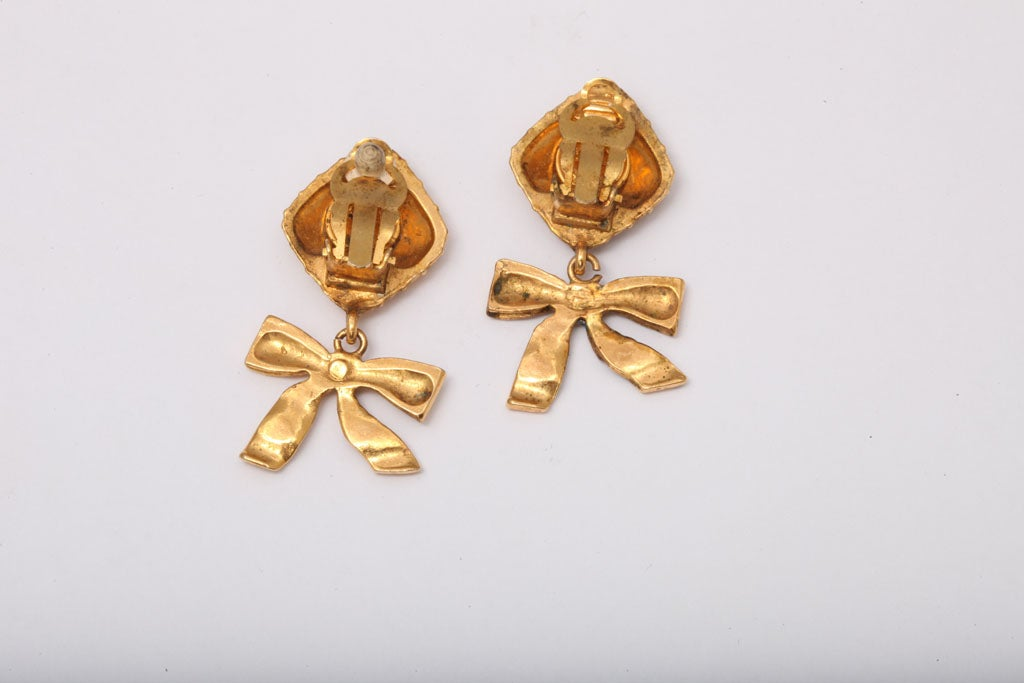 chanel bow dangling earrings for sale at 1stdibs