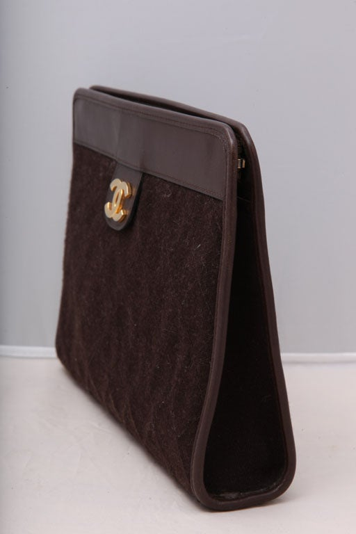 CHANEL BROWN QUITED CLUTCH BAG 3