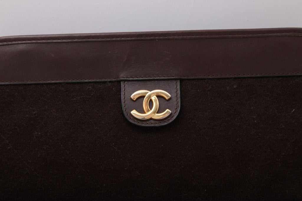 CHANEL BROWN QUITED CLUTCH BAG 5