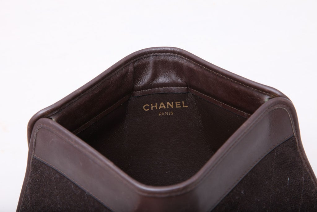 CHANEL BROWN QUITED CLUTCH BAG 6