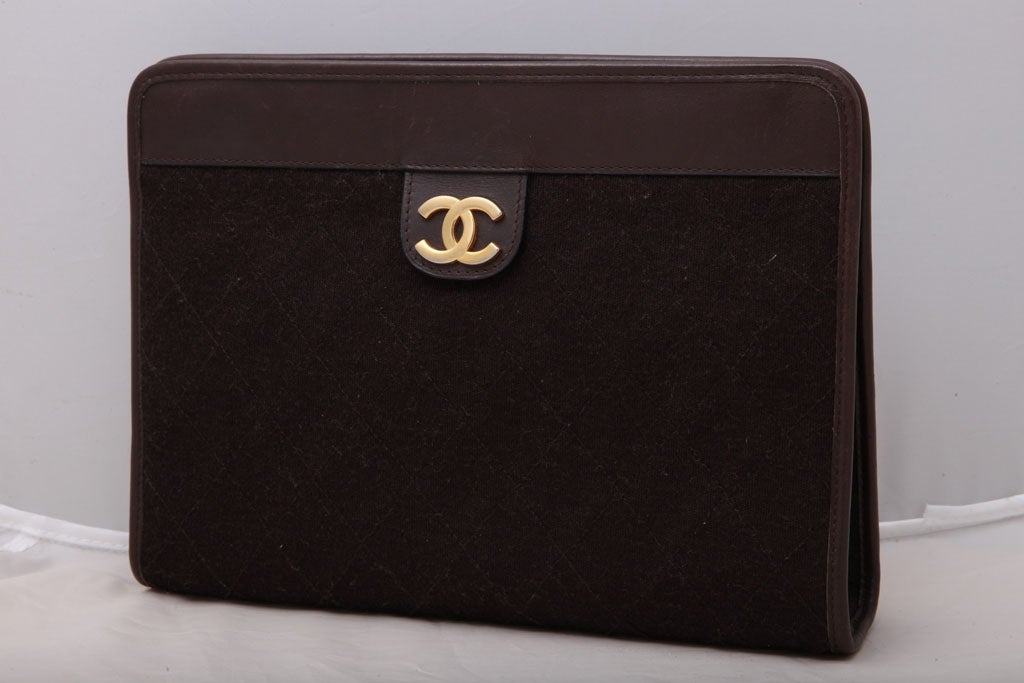 CHANEL BROWN QUITED CLUTCH BAG 2