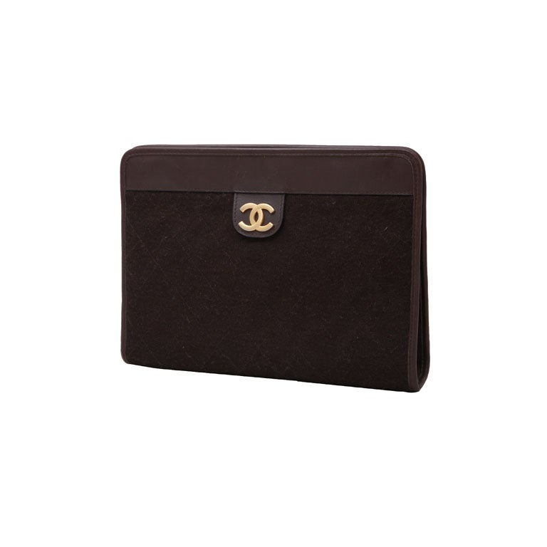 CHANEL BROWN QUITED CLUTCH BAG 1