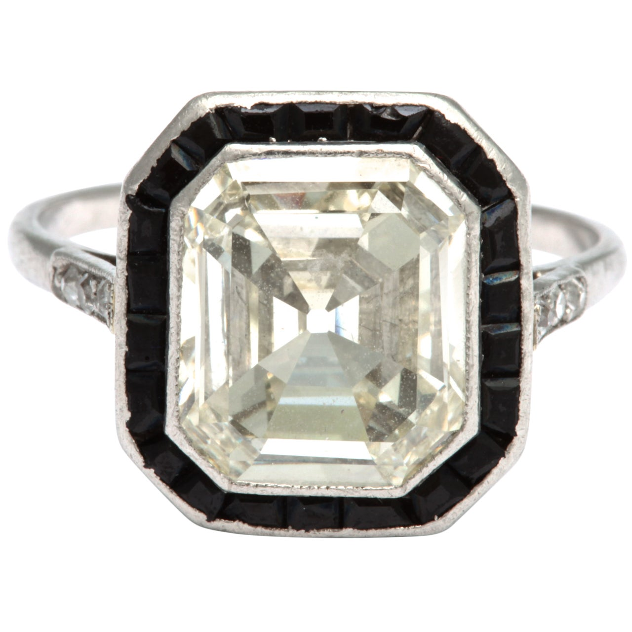 emerald cut and onyx platinum ring at 1stdibs