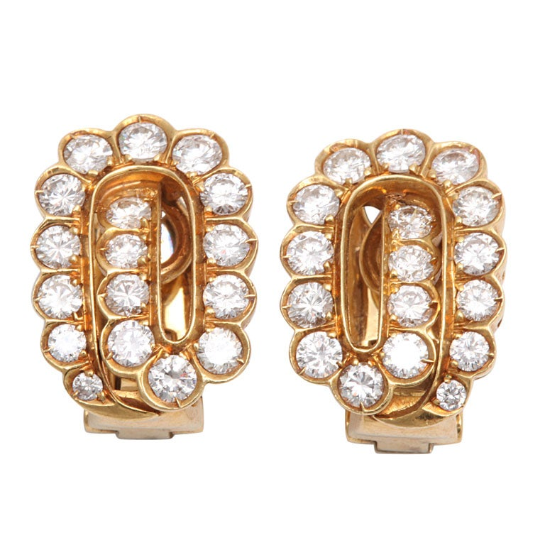 Gold &diamond Clip On Earrings