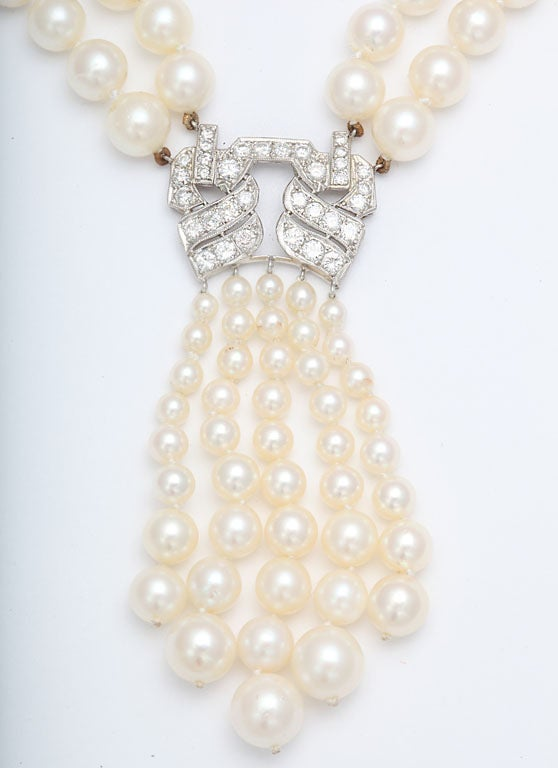 Women's  Pearl And Diamond Platinum Tassel Necklace For Sale